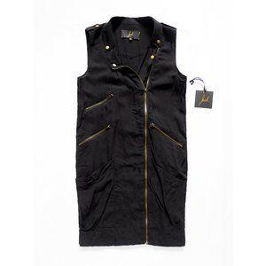 JACK Sleeveless Moto Zipper Multi Pockets Dress